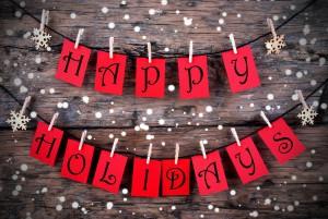 Kerstkaart met Happy Holidays
