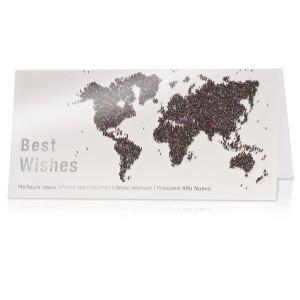 Kerstkaart voor bedrijven met wereldkaart