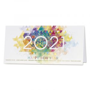 Spetterende kleurrijke nieuwjaarskaart