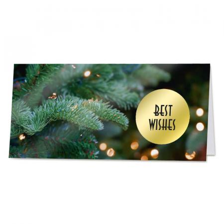 """Best wishes"" kaart met kerstboom"