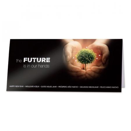 Zakelijke nieuwjaarskaart 'the future is in our hands'